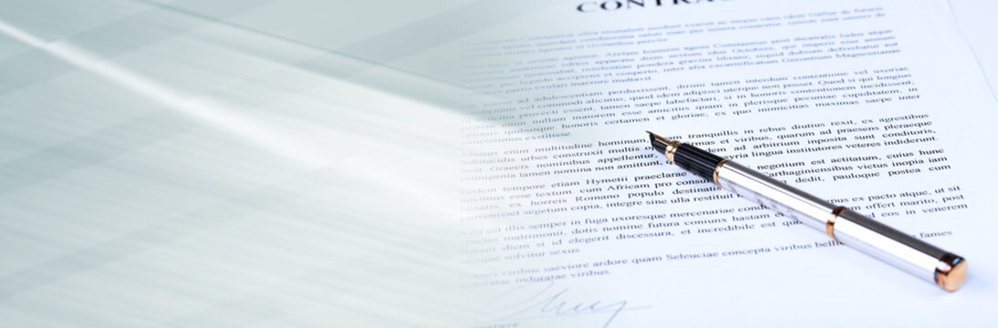 Signed contract. panoramic banner