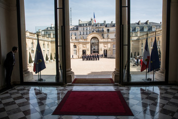 Parisian Firefighters' brigade arrives at Elysee Palace, in Paris