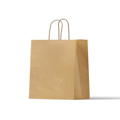 brown Craft paper bag isolated on white background