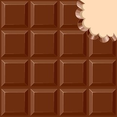 Tuinposter Draw Chocolate Sweet Bar with a bite out of the corner Vector illustration