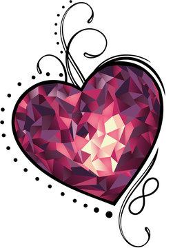 Herz Polygon Muttertag Edelstein Infinity Liebe. Edelstein Herz in Rottönen mit Schnörkeln und Unendlichkeitssymbol. Tolles Geschenk zum Muttertag, Valentinstag, Geburtstag, Hochzeitstag.