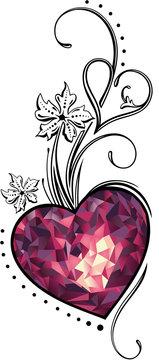 Herz Polygon Muttertag Edelstein Infinity Liebe. Edelstein Herz in Rottönen mit Schnörkeln, Ornament und Blumen. Tolles Geschenk zum Muttertag, Valentinstag, Geburtstag, Hochzeitstag, Hochzeit.