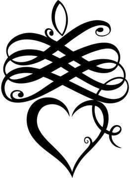 Kalligrafie Herz Herzklopfen Tattoo Party Love. Filigranes Herz mit Schnörkeln und Ornamenten. Tolles Geschenk für Tattoo Fans, Girlie, Princess, zum Geburtstag, Party, Clubbing, Muttertag.