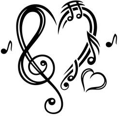 Herz Musik Notenschlüssel Musiknoten. Herz aus Musiknoten und Notenschlüssel . Passend für den Sommer, für Konzerte, Musik Festivals, Goa, Trance, Electro, Disco, Party, Clubbing, für Sänger und Musik