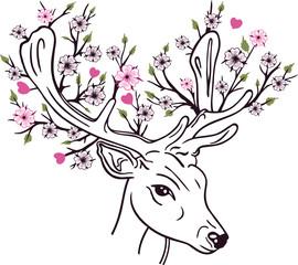 Hirsch, Rehbock mit Geweih, Herzen, Blätter und Kirschblüten. Frühlingsanfang, Frühling. Für Frauen, Mädchen und zum Valentinstag und Muttertag.