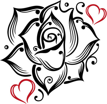 Rose Herzen Liebe Blume Blühen Romantisch. Große Tattoo Rose mit Herzen. Tolles Geschenk zum Valentinstag, Muttertag, zur Verlobung, Hochzeit und für Paare.