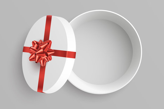 Open round gift box vector illustration. Empty opened surprise box with red bow and ribbon isolated on grey background. Top view . Element for your design. Eps 10,