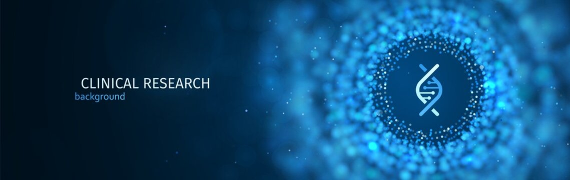 Scientific or medical research vector blue background template. Science abstract web banner with blur effect
