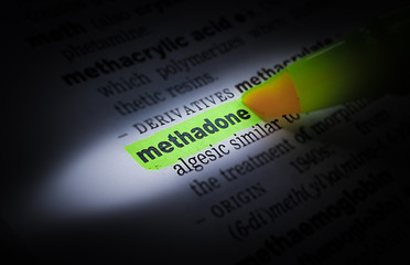 A green highlighted word in a page that reads: methadone
