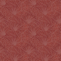 Densely textured design. Hand drawn line art flowers in seamless vector pattern on marbled chestnut background. Great for wellness products, packaging, fabric coordinate, stationery, packaging
