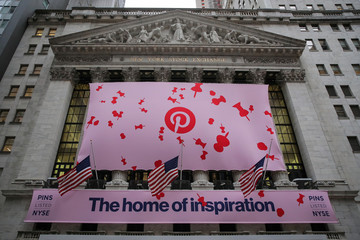 A banner celebrating the IPO of Pinterest Inc. hangs on the front of the NYSE in New York