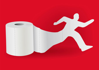 Toilet paper with running man. Illustration of silhouette of running man unwinding toilet paper. Vector available.