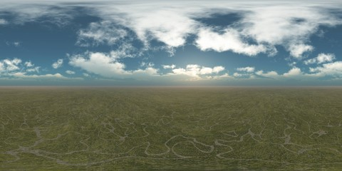 HDRI, environment map , Round panorama, spherical panorama, equidistant projection, panorama 360, Earth and sky