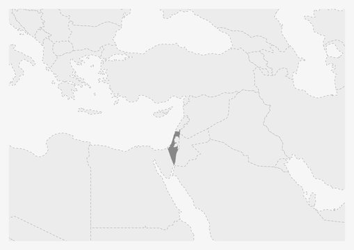 Map of Middle East with highlighted Israel map