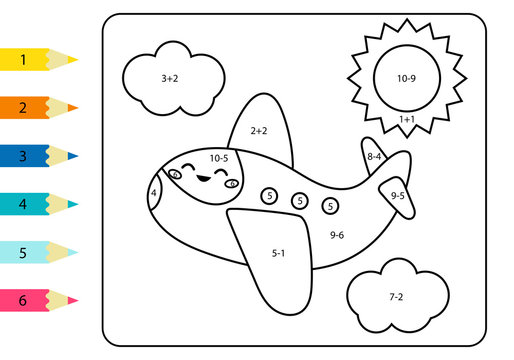 Coloring page by addition and subtraction numbers. Vector kawaii plane. Math worksheet for kids. Transportation theme.