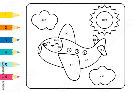 Coloring Page By Addition And Subtraction Numbers Vector Kawaii