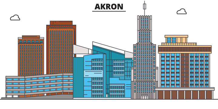 Akron,United States, flat landmarks vector illustration. Akron line city with famous travel sights, design skyline.