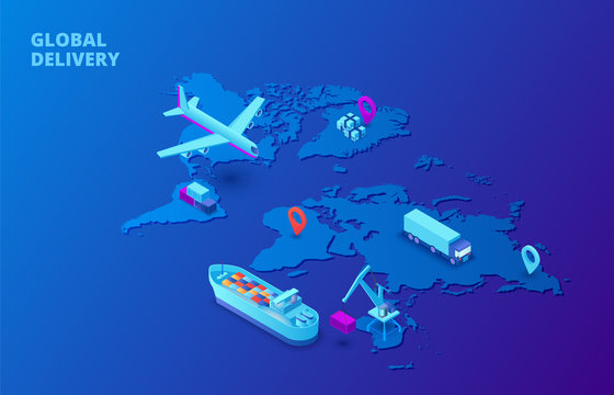 Global delivery concept with map, plane and tanker on a dark blue background. Isometric vector illustration. Landing page template for web.