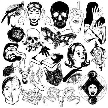 Vector set of hand drawn illustrations of skulls, girls, monsters, moth .