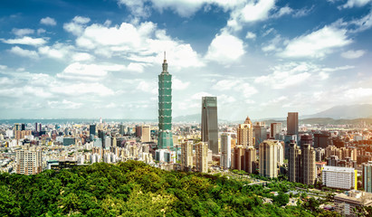 Fotobehang New York Panoramic of city Taipei , Taiwan