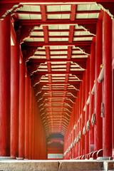 The red porch in Jongmyo Shrine. Seoul, Korea.
