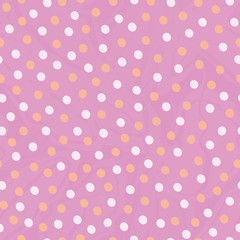 Golden and pastel pink hand drawn dots in random design. Seamless vector pattern on lightly marbled pink background. ound. Great for wellness, beauty, wedding products, giftwrap, stationery, packaging