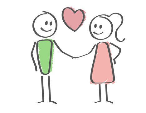 Stick Figure - love - man and woman holding hands - heart