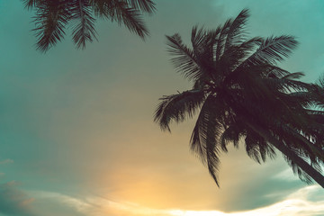 Sunset at a tropical beach in the Asian