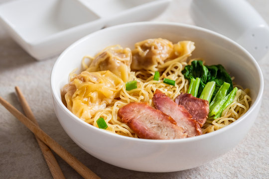 Egg noodle with wonton and red roasted pork, Asian food style