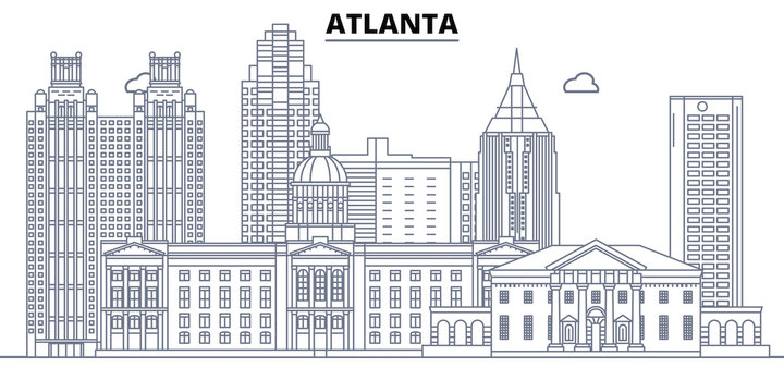 Atlanta,United States, flat landmarks vector illustration. Atlanta line city with famous travel sights, design skyline.