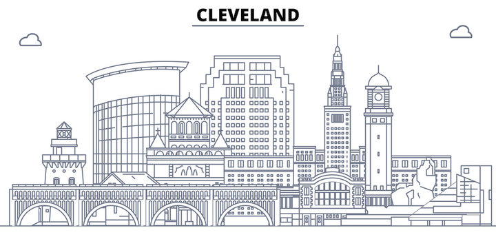 Cleveland,United States, flat landmarks vector illustration. Cleveland line city with famous travel sights, design skyline.