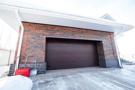garage door of a private house in winter
