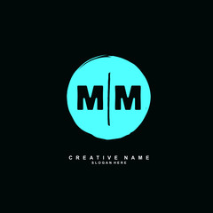 M MM Initial logo hand draw template vector
