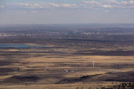 An aerial view of Denver, Colorado