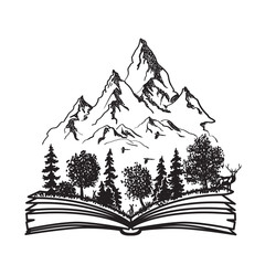 Open book with forest and mountains. Black and white hand drawn sketch. Vector illustration