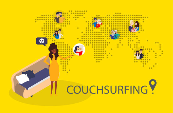 Design concept of couchsurfing with dotted world map, black woman and  different characters people and background for website and mobile website. Vector illustration.
