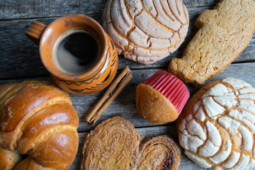 Set of mexican sweet bread and coffee