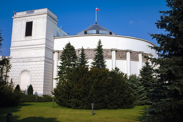 Main building of Sejm - lower house of the Polish parliament in Warsaw, Poland