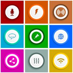 Flat design icon set, internet vector illustrations, social media signs in eps 10