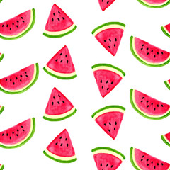 Seamless watercolor pattern with watermelon isolated on white background