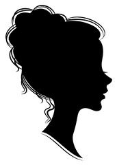 Silhouette of the head of a sweet lady. She shows a woman's hair on medium and long hair. Suitable for advertising, logo. Vector illustration.