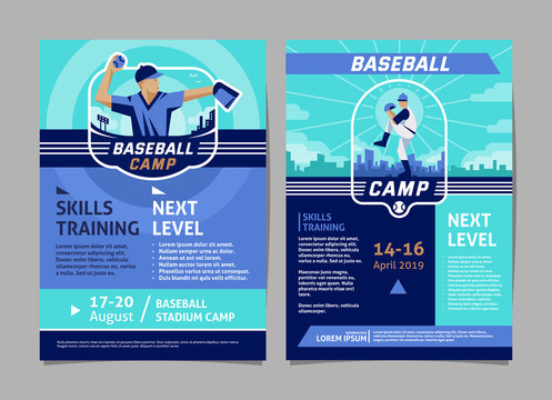 Baseball camp poster, flyer collection - vector flat geometric design