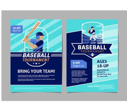 Baseball tournament poster, flyer collection - vector flat geometric design