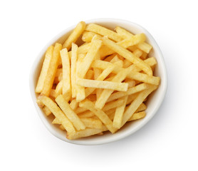 Top view of french fries  in ceramic bow