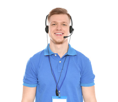 Portrait of technical support operator with headset isolated on white