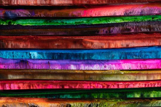 Closeup amazing abstract bright multicolored epoxy resin panels