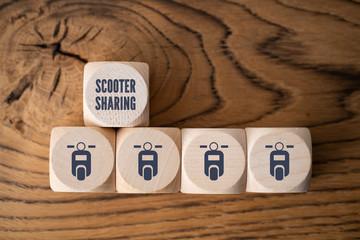 Scooter-Sharing Symbole auf Würfel