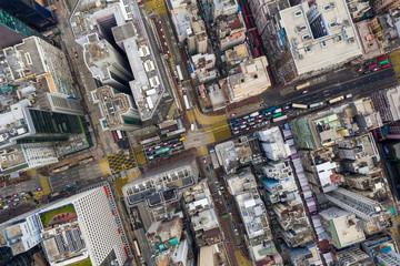 Wall Mural - Top down view of Hong Kong city