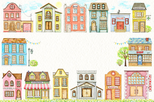 Rectangle frame with cute cartoon city buildings isolated on paper texture background. Watercolor hand painted illustration