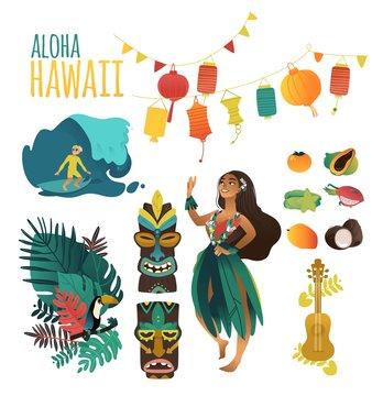 Hawaiian culture traditional symbols in flat cartoon vector illustration set.